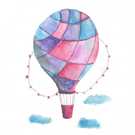 Purple balloon traveler watercolor. Watercolor. Jo...