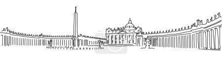 Hand drawn Saint Peter Square and Saint Peter Basilica. Vatican