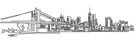 Illustration for New York Panorama with brooklyn bridge, Vector outline Sketch - Royalty Free Image