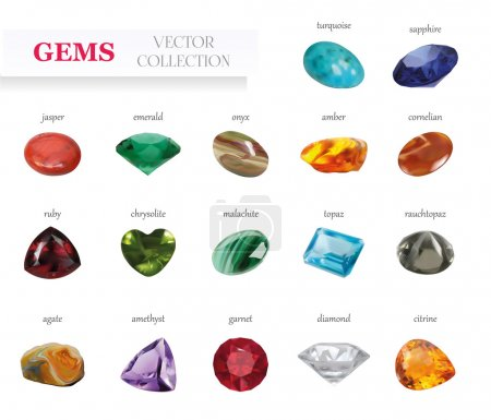 Vector Realistic Gems Jewelry Stones Big Collection. Isolated On White Background