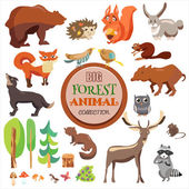Big Forest Funny Animals Set Vector Collection Isolated On White Background Fox Squirrel Bear Wolf and Others