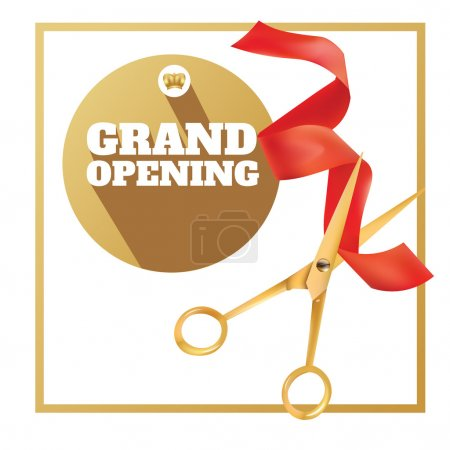 Golden scissors cut the red ribbon. The Symbol of the Grand Opening Event. Vector Object. Design Element. Title Grand Opening In Circle Gold Frame. Template for Card, Poster, Web, Invitation.