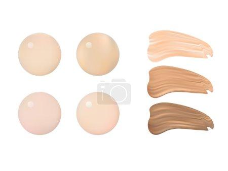 Illustration pour Illustration vectorielle de palette de nuances de couleurs pour le maquillage de fond de teint. Isolé sur fond blanc . - image libre de droit