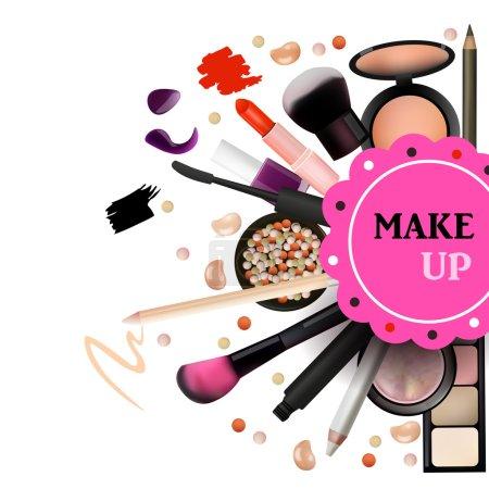 Make Up Artist Objects. lipstick, eye shadows, eyeliner, concealer, nail polish, brushes,pencils, palettes, powder. Vector Emblem. Realistic Vector Design.