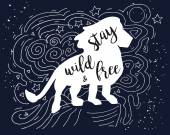 Lion Illustration with Stay Wild and Free Motivational QuoteHand drawn grunge vintage doodle illustration with hand lettering For greeting card T-shirt or bag print poster typography Vector illustration