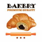 Bakery Shop Label Design Set Fresh and Tasty Desserts Premium Quality Croissant  Ribbons and Stars Vector Illustration