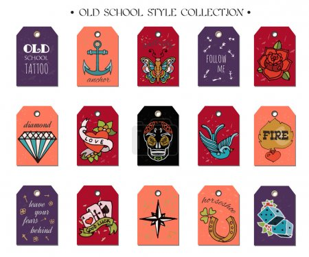 Hand drawn old School Tattoo Tags. Design Elements. Vector Vintage Set.