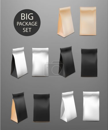 Paper Food Bag Package Big Set For Coffee, Tea, Snacks, Chips, Breakfast,Meal. Isolated Mock Up Template Ready For Your Design. Product Packing Vector. Food to Go
