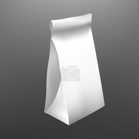 White Paper Food Bag Package For Coffee, Tea, Snacks, Chips, Breakfast,Meal. Isolated Mock Up Template Ready For Your Design. Product Packing Vector. Food to Go