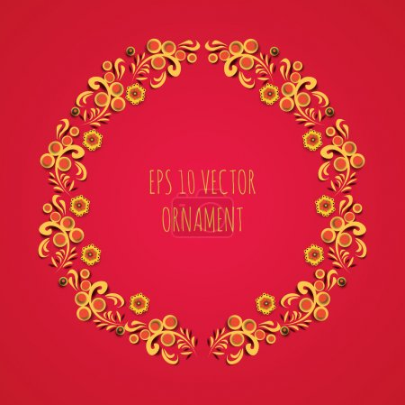 vector wreath illlustration of traditional folk russian floral old ornament named khokhloma on red background