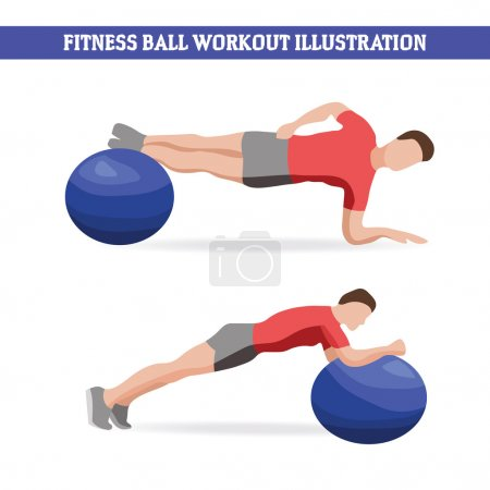 Illustration of man doing exercises with fitness ball