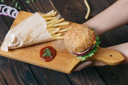 American beef burger with cheese