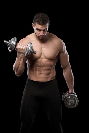 Muscular men exercise with dumbbells.