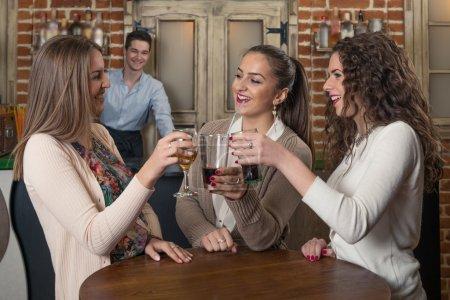 Friends having fun in The Bar.