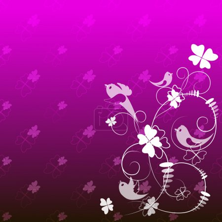 Abstract pattern of white flowers and birds on a pink background