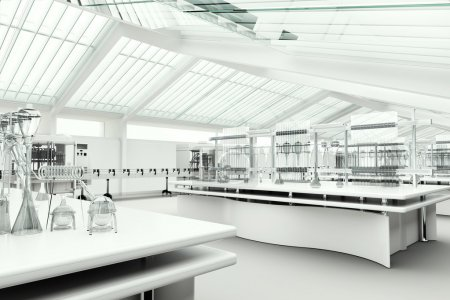 White modern clean research laboratory interior