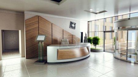 Photo pour Hall d'entrée avec réception dans une entreprise de bâtiment de centre - image libre de droit