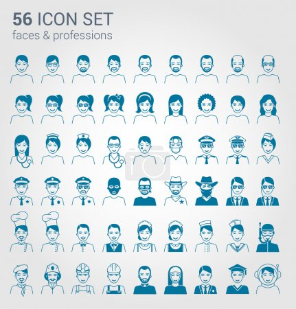 Photo for Regular people and professions icon set - Royalty Free Image