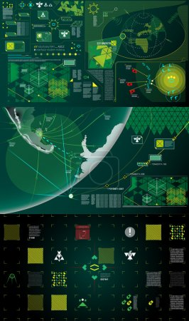 Dark green, white and yellow modern warfare holographic gui illustration