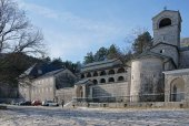View of Cetinje Monastery in winter. Montenegro