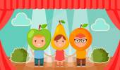 Kids in Fruit Costumes Standing on the Stage