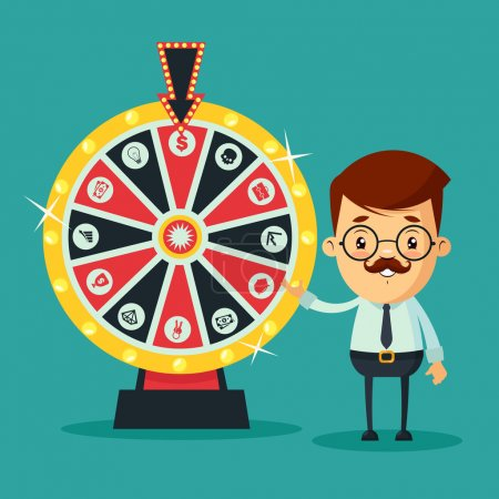 Illustration for Cute Cartoon Businessman Standing Near the Wheel of Fortune. Colorful Vector Illustration - Royalty Free Image