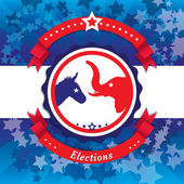 Election Pop Art Vector Illustration of democrat donkey and republican elephant symbols facing off Vote for America