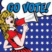 Pop Art Woman with Megaphone - GO VOTE! sign vector illustration Election Vote for America