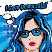 Pop Art Woman with Glasses - I LOVE DEMOCRATS! sign vector illustration Election Vote for America