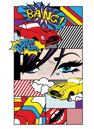 Pop Art Card Vector Illustration