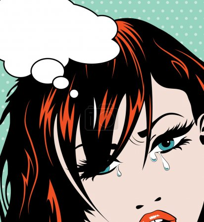 pop art crying girl