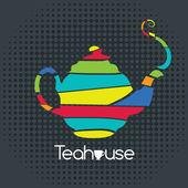 Tea house card in Pop Art style