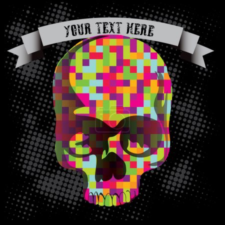 Illustration for Day of The Dead Skull with Crystal Polygon ornament. Grunge Background - Royalty Free Image