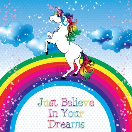Motivation card. Unicorn with a rainbow