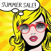 Pop Art Woman SUMMER SALE! sign.