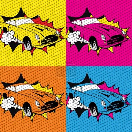 Pop art Colorful cars.