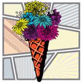 Pop Art Ice Cream flowers Summer Sale.