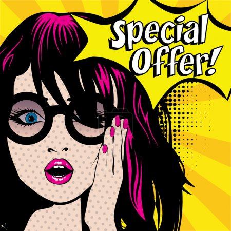 Illustration for Pop Art Woman with Glasses - SPECIAL OFFER! sign. vector illustration. - Royalty Free Image