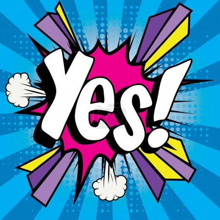 "Illustration for Pop Art comics icon ""Yes!"". Speech Bubble Vector illustration. - Royalty Free Image"