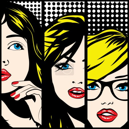 Pop art Faces of Woman