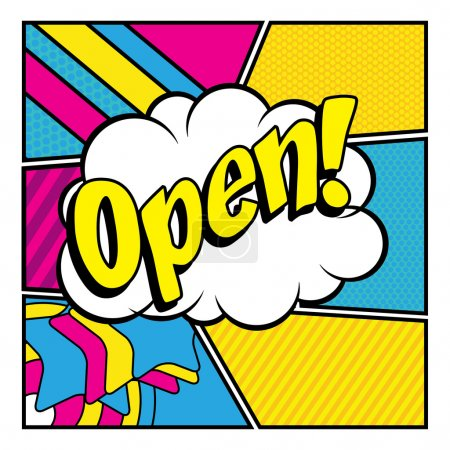 "Illustration for Pop Art comics icon ""Open!"". Speech Bubble Vector illustration. - Royalty Free Image"
