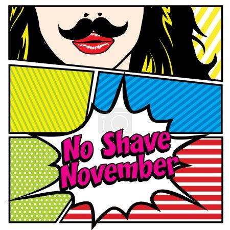 Illustration for No Shave November. Mustache Season, Pop art Women vector illustration. - Royalty Free Image