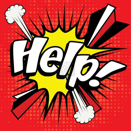 "Illustration for Pop Art comics icon ""Help!"". Speech Bubble Vector illustration. - Royalty Free Image"