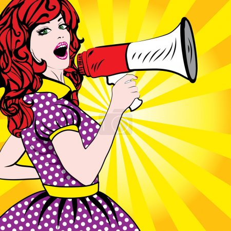 Illustration for Pop Art Woman with Megaphone. vector illustration - Royalty Free Image
