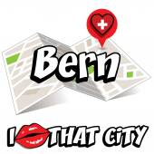Bern I Love That City Vector Illustration with country flag