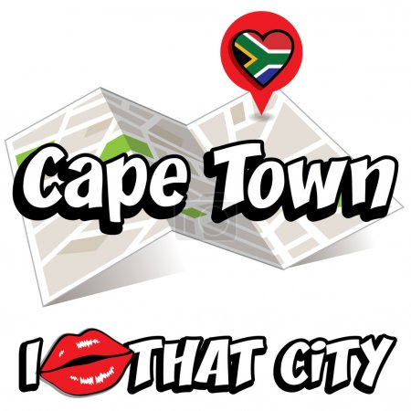 Illustration for Cape Town. I Love That City. Vector Illustration with country flag. - Royalty Free Image