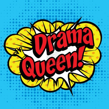 "Illustration pour Icône Pop Art de bande dessinée ""Drama Queen!"". Speech Bubble Vector illustration. - image libre de droit"
