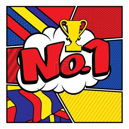 """Pop Art comics icon """"No.1""""."""