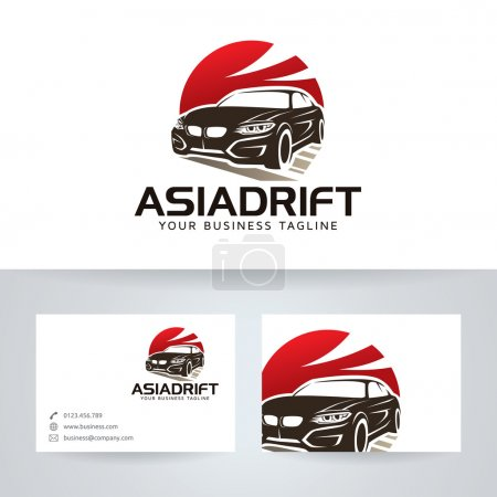 Asian Drift vector logo with business card template