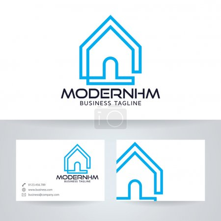 Illustration for Modern home vector logo with business card template - Royalty Free Image